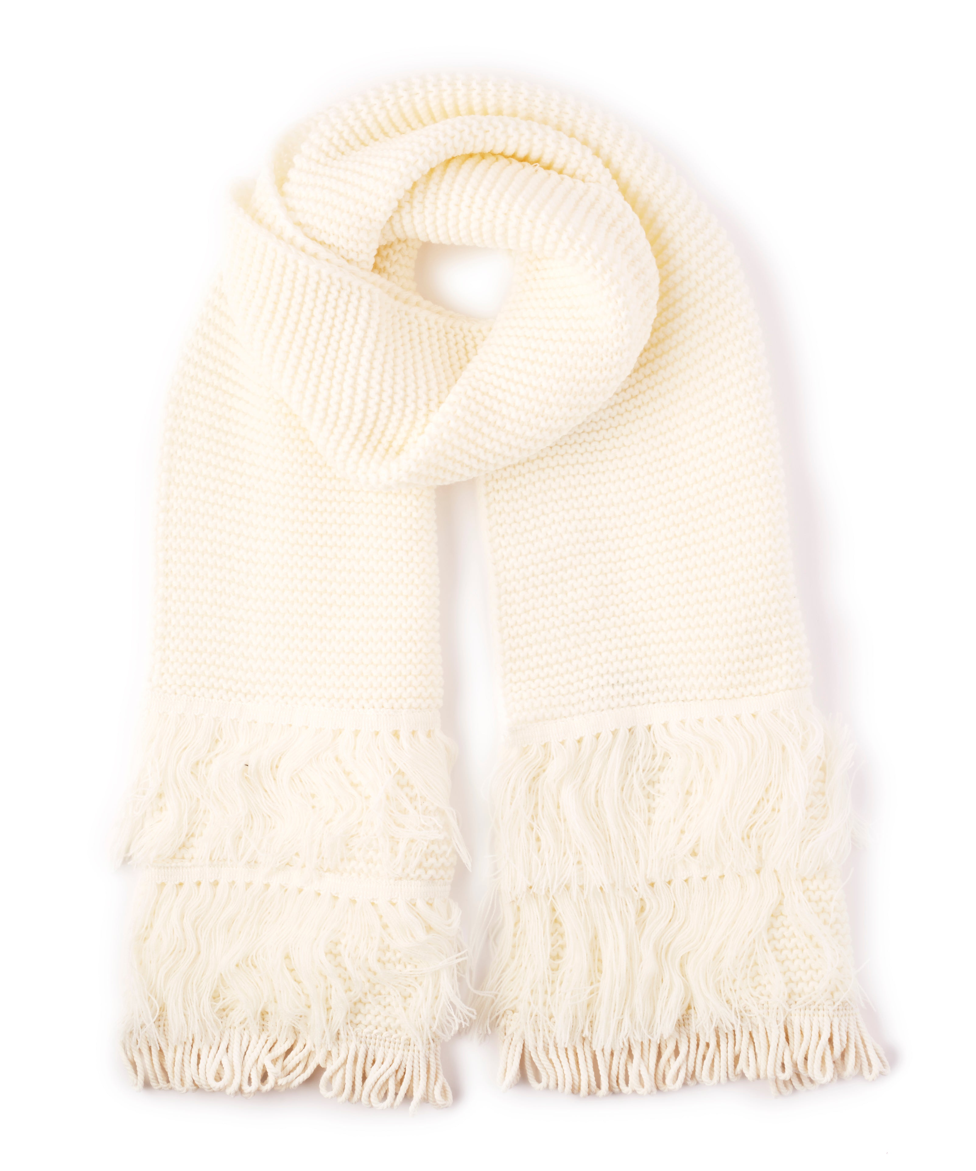 White - Solid Fringy Muffler