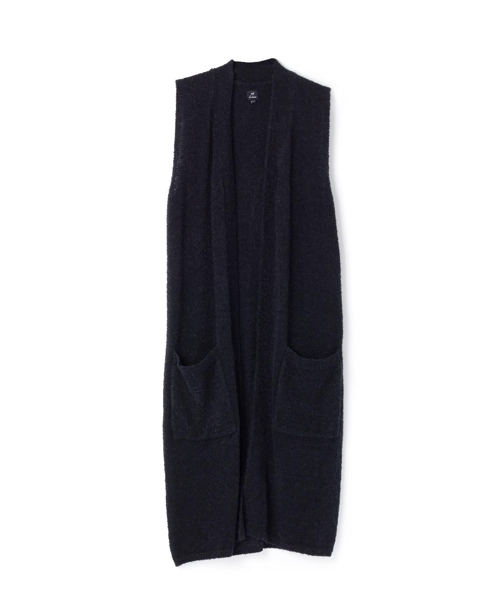 Black - Knit Cross Over Vest