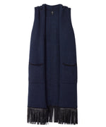 Black/Navy - Chevron Fringe Vest