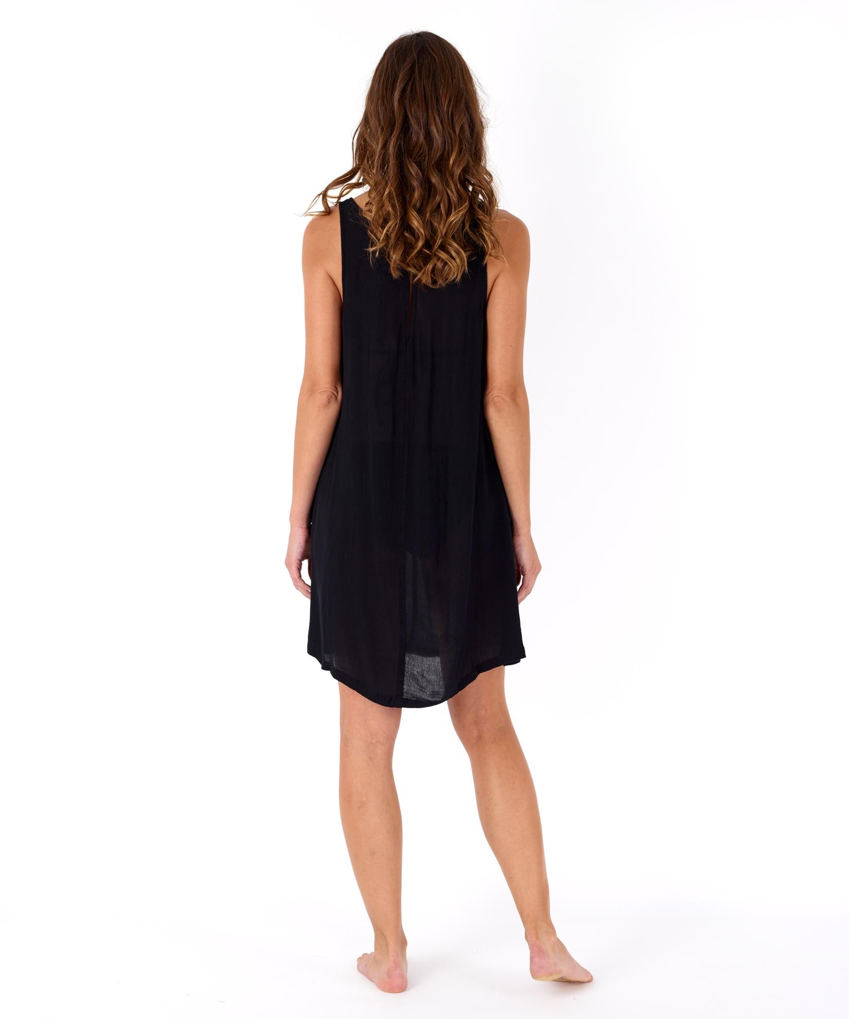 Black - Solid Crinkle Mini Dress