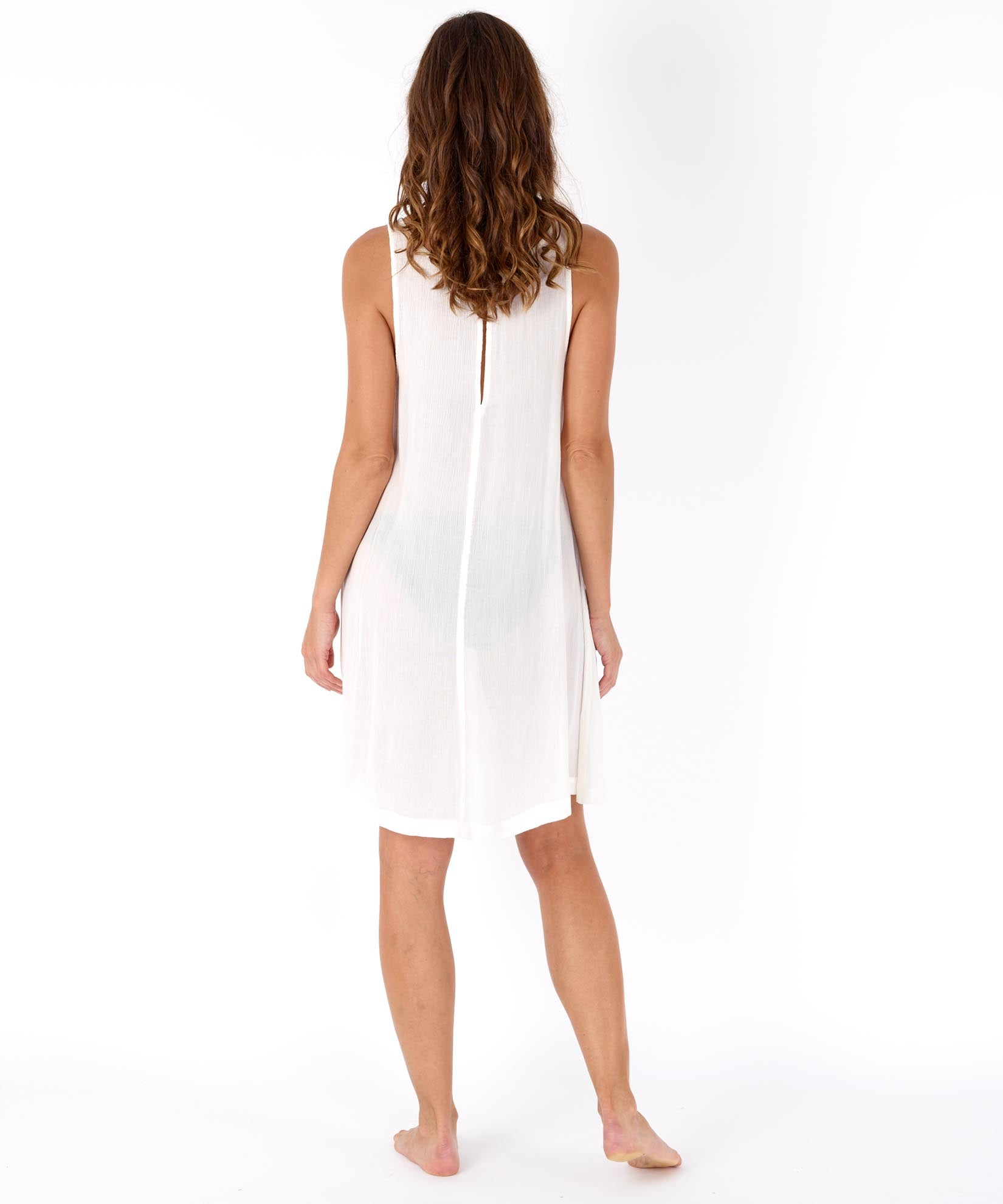 White - Solid Crinkle Mini Dress