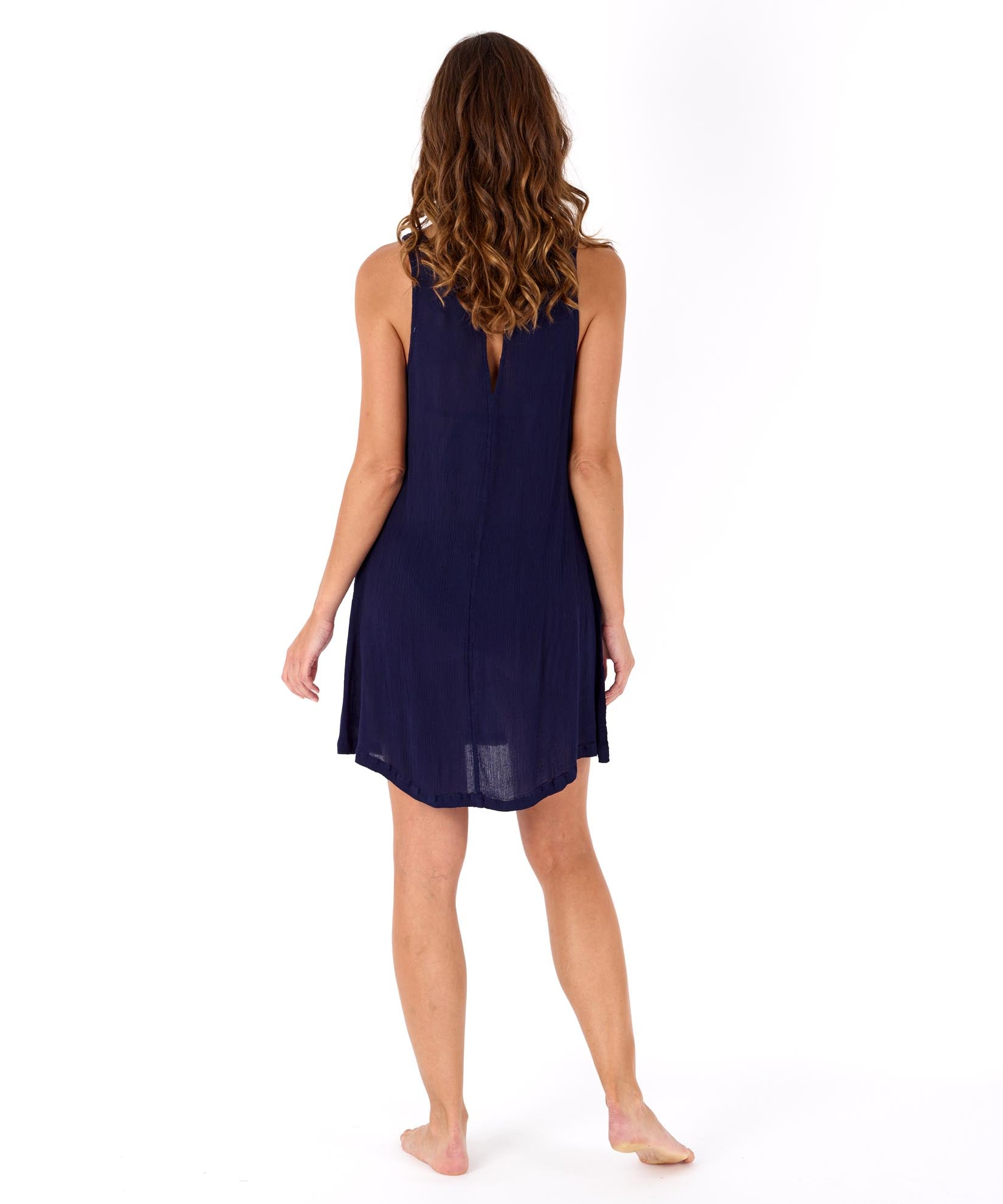 Navy - Solid Crinkle Mini Dress