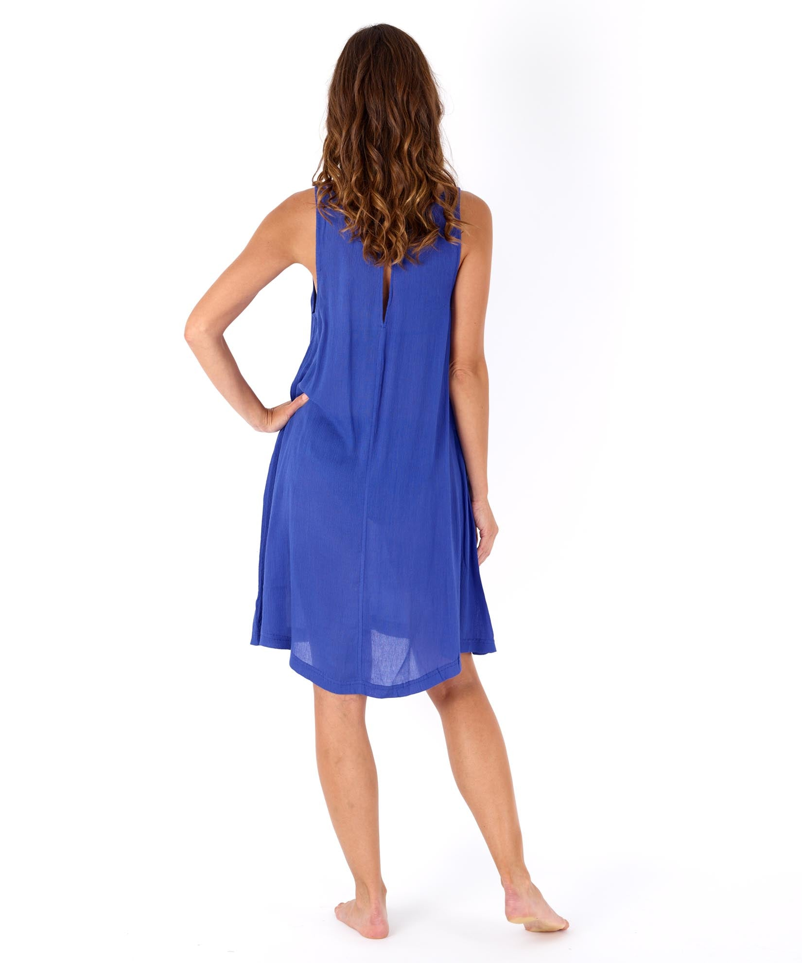 Brilliant Blue - Solid Crinkle Mini Dress