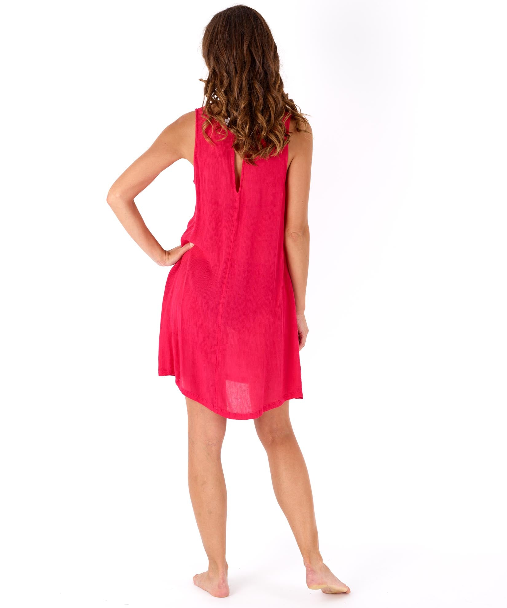 Hibiscus - Solid Crinkle Mini Dress