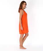 Bright Coral - Solid Crinkle Mini Dress