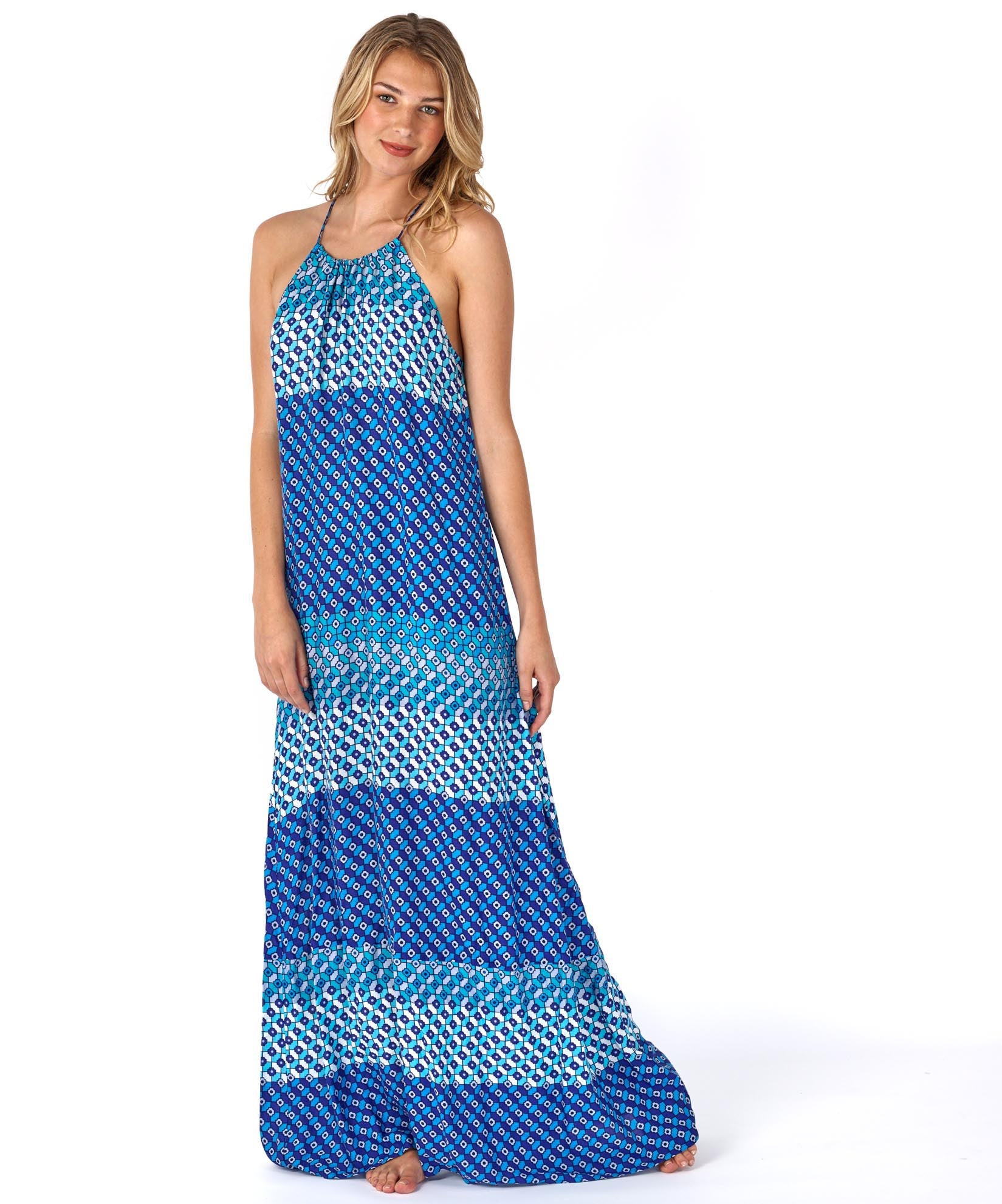 Brilliant Blue - Villa Tile Maxi Dress
