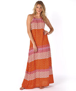 Bright Coral - Villa Tile Maxi Dress