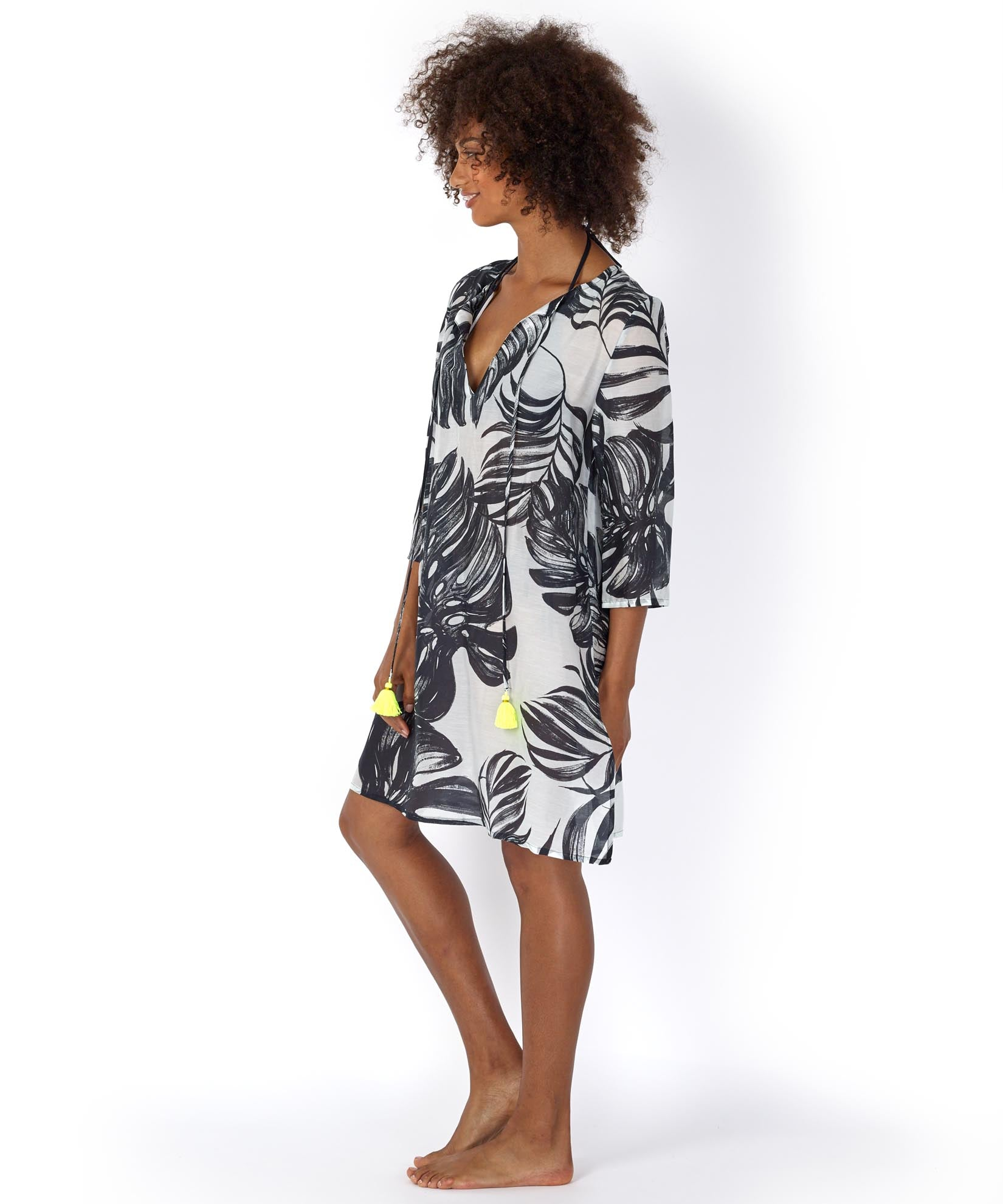 Black - Palm Leaf Cabana Caftan