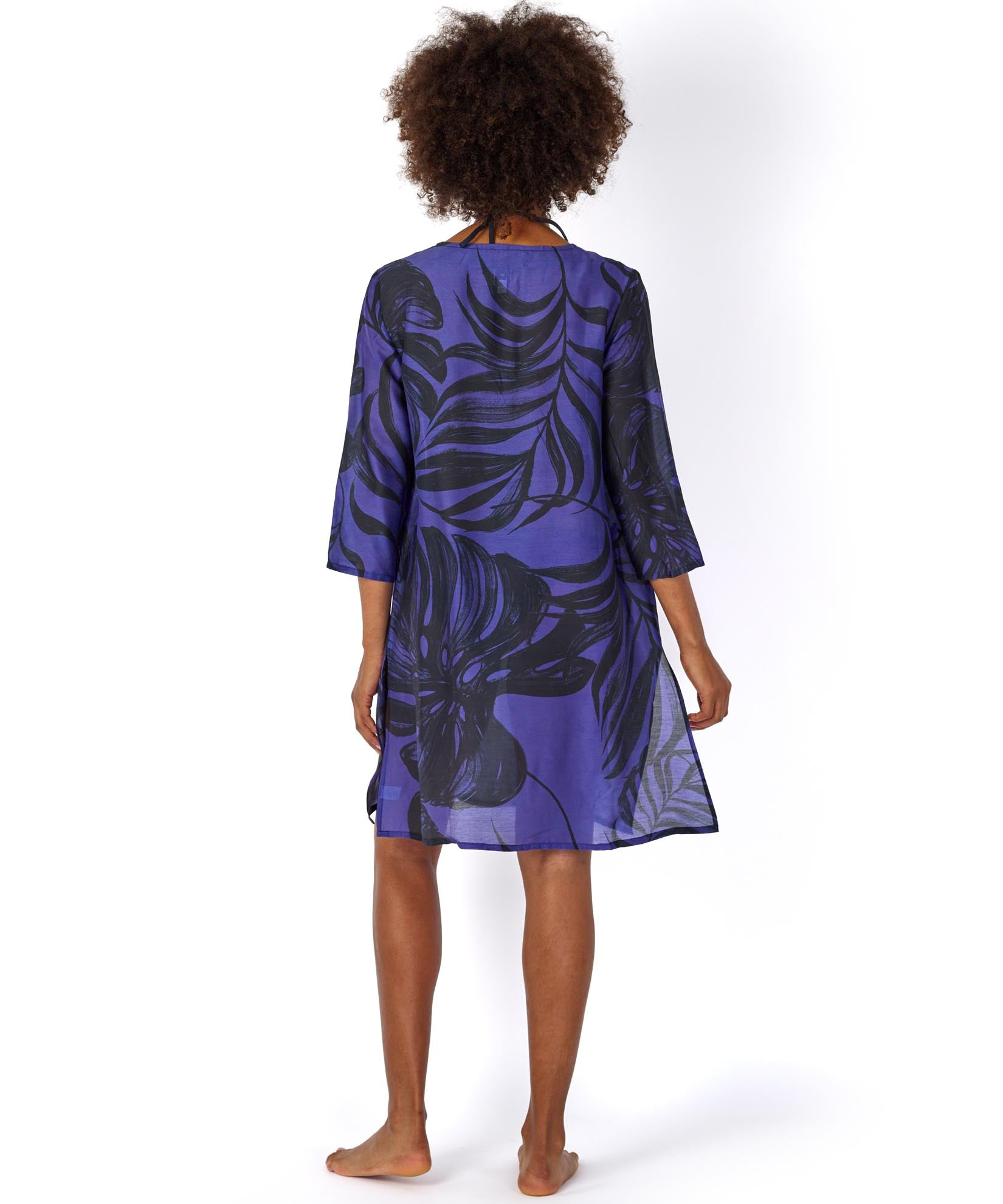 Brilliant Blue - Palm Leaf Cabana Caftan