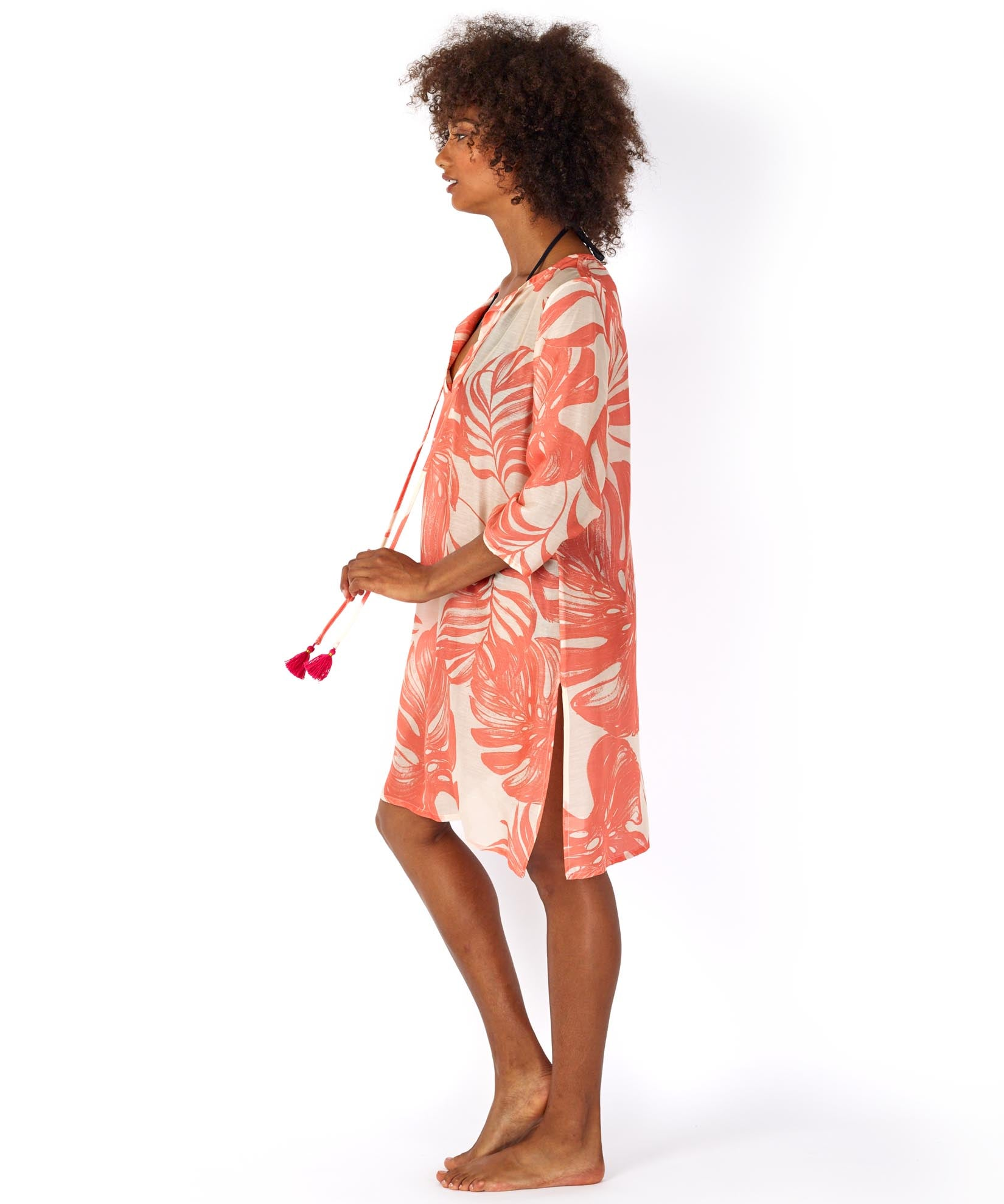 Bright Coral - Palm Leaf Cabana Caftan