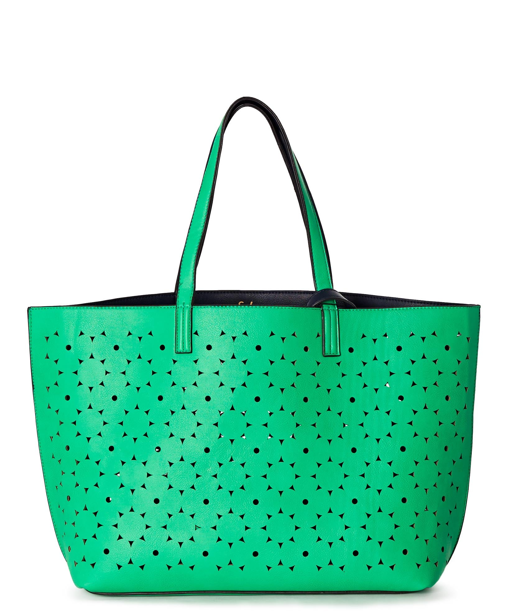 Fresh Lime/Navy - Sunflower Laser Cut Essex Tote