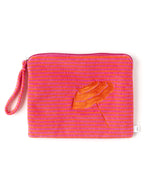 Orange/Fuchsia - Striped Terry Bali Bikini Bag