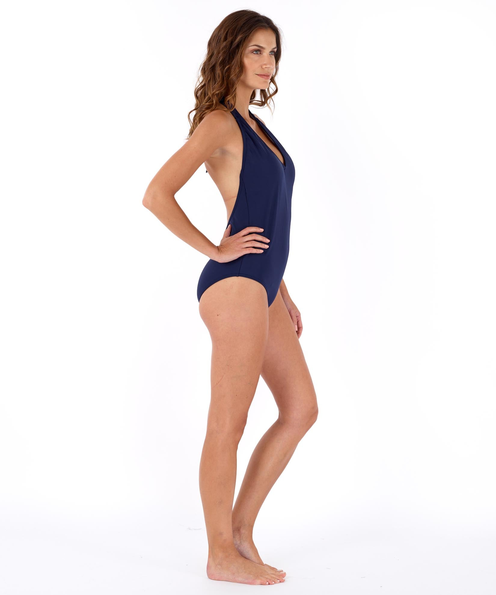 Navy - Solid Low-V Back One Piece