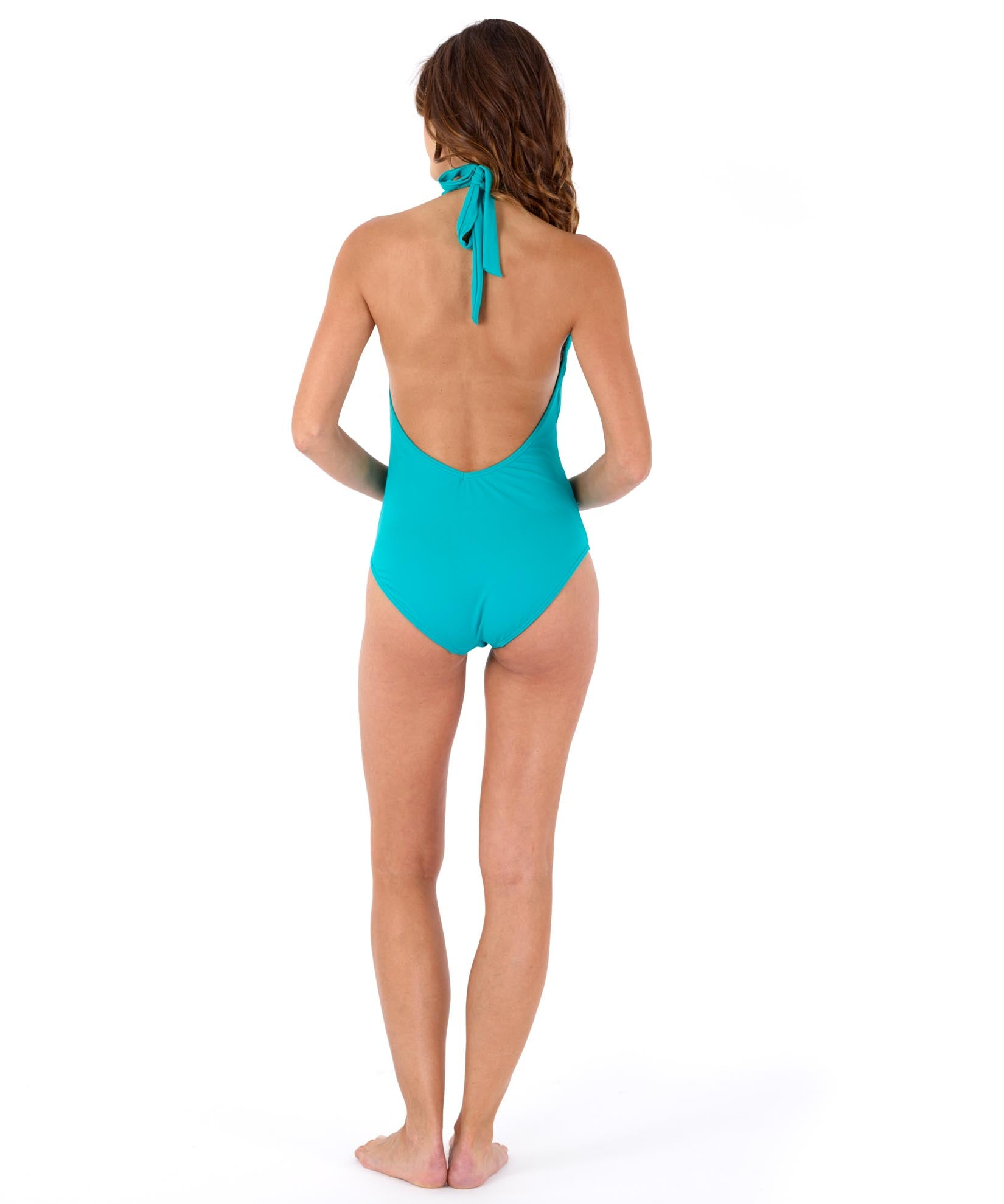 Caribbean Sea - Solid Low-V Back One Piece