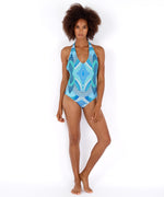 Brilliant Blue - Havana Geo Lowv Back One Piece
