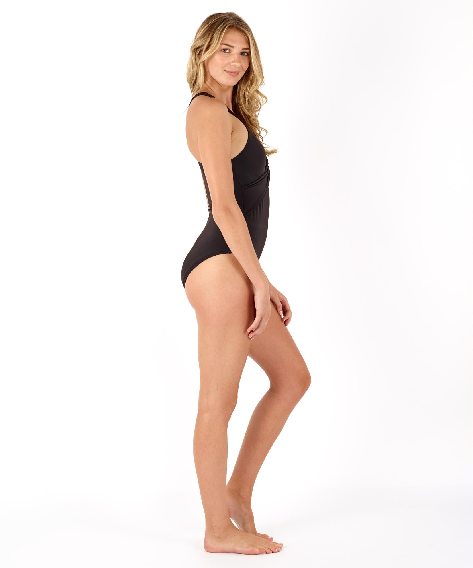 Black - Solid Twist Front One Piece