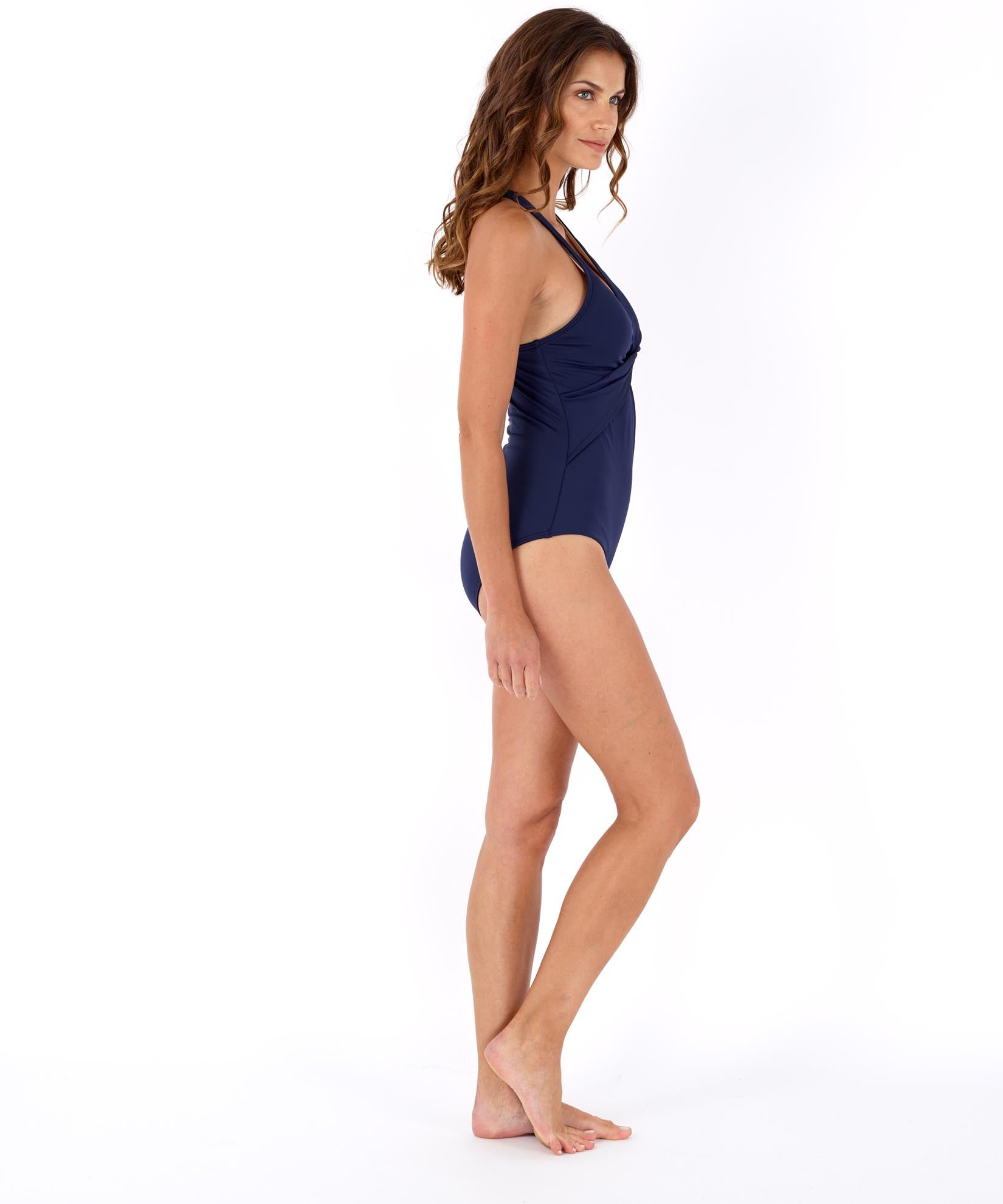 Navy - Solid Twist Front One Piece