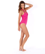 Hibiscus Pink - Solid Twist Front One Piece
