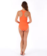 Sunset Orange - Solid Twist Front One Piece