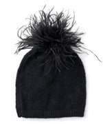 Black - Feather Pom Hat