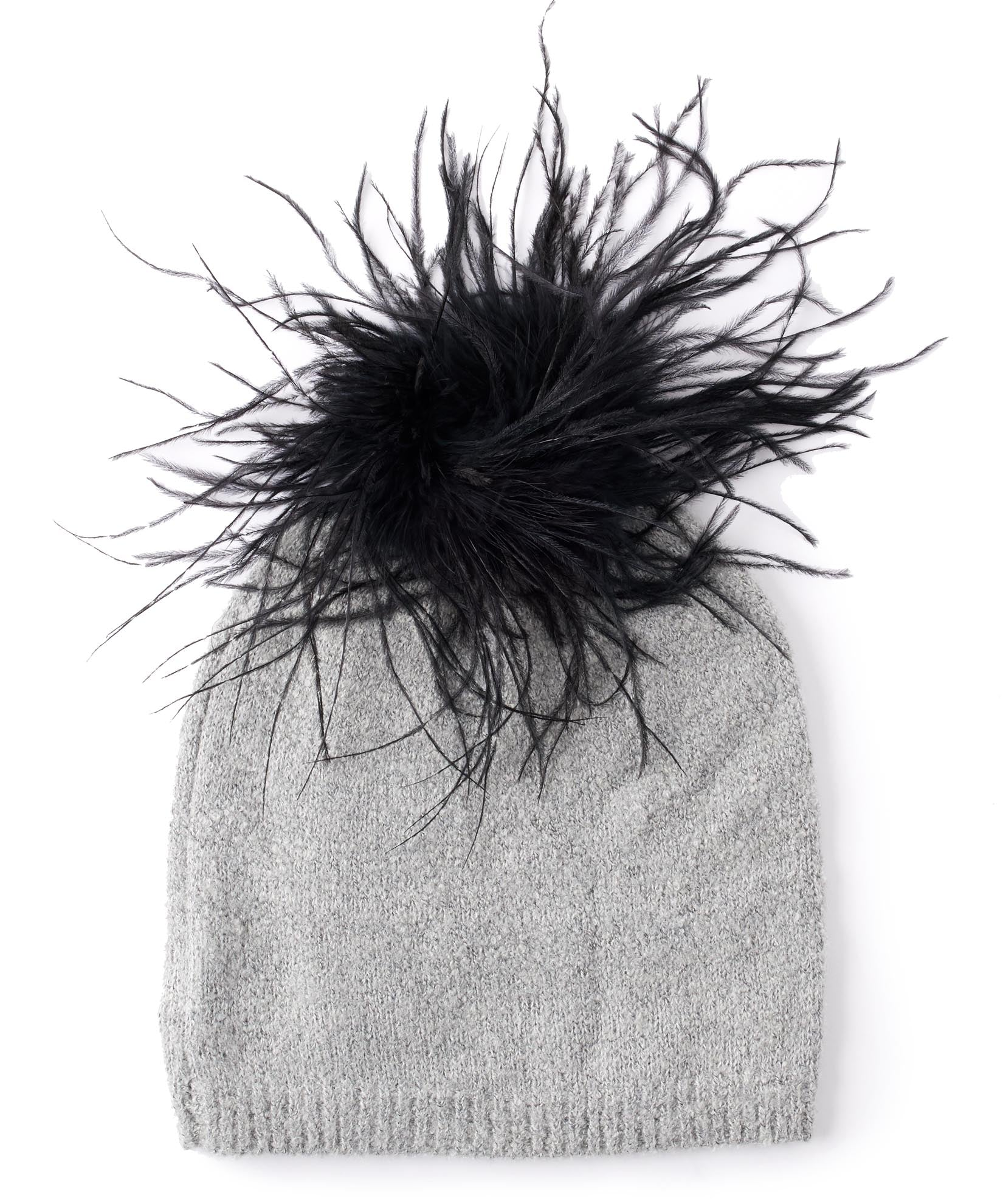 Summit Grey - Feather Pom Hat