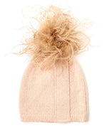 Blush - Feather Pom Hat