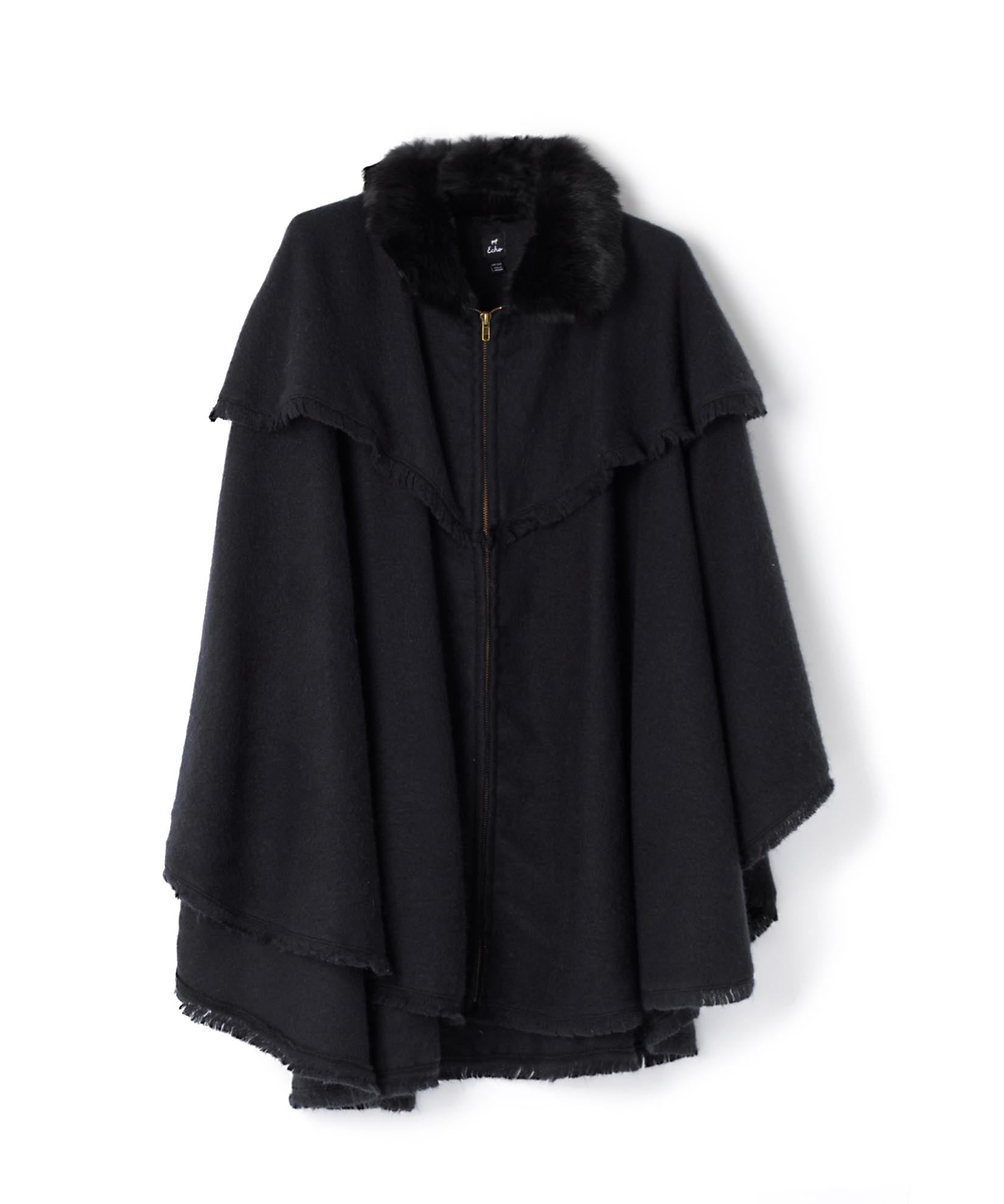Black - Fur Collar Zipper Poncho