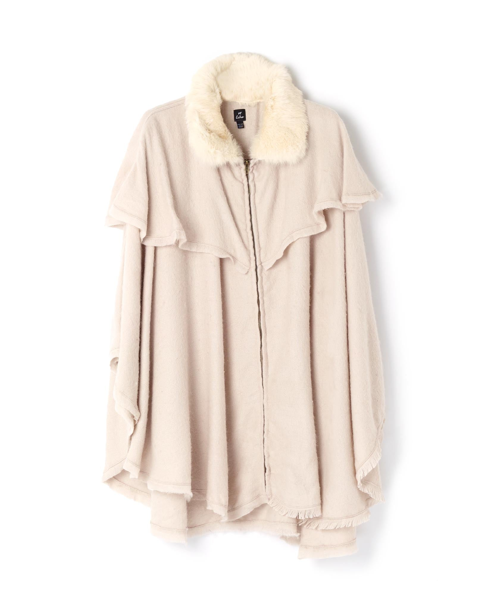 Platinum - Fur Collar Zipper Poncho