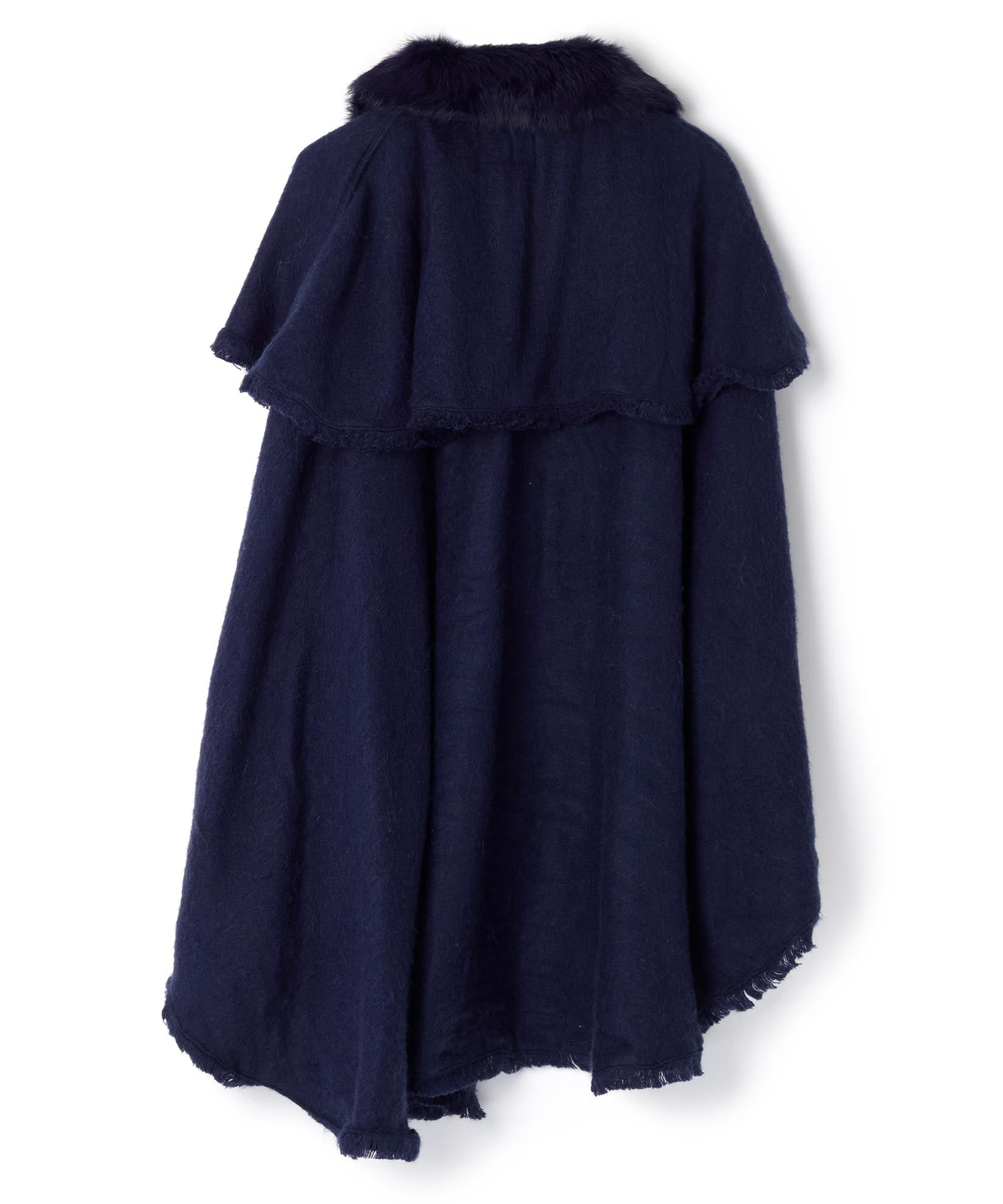 Maritime Navy - Fur Collar Zipper Poncho