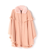 Blush - Fur Collar Zipper Poncho