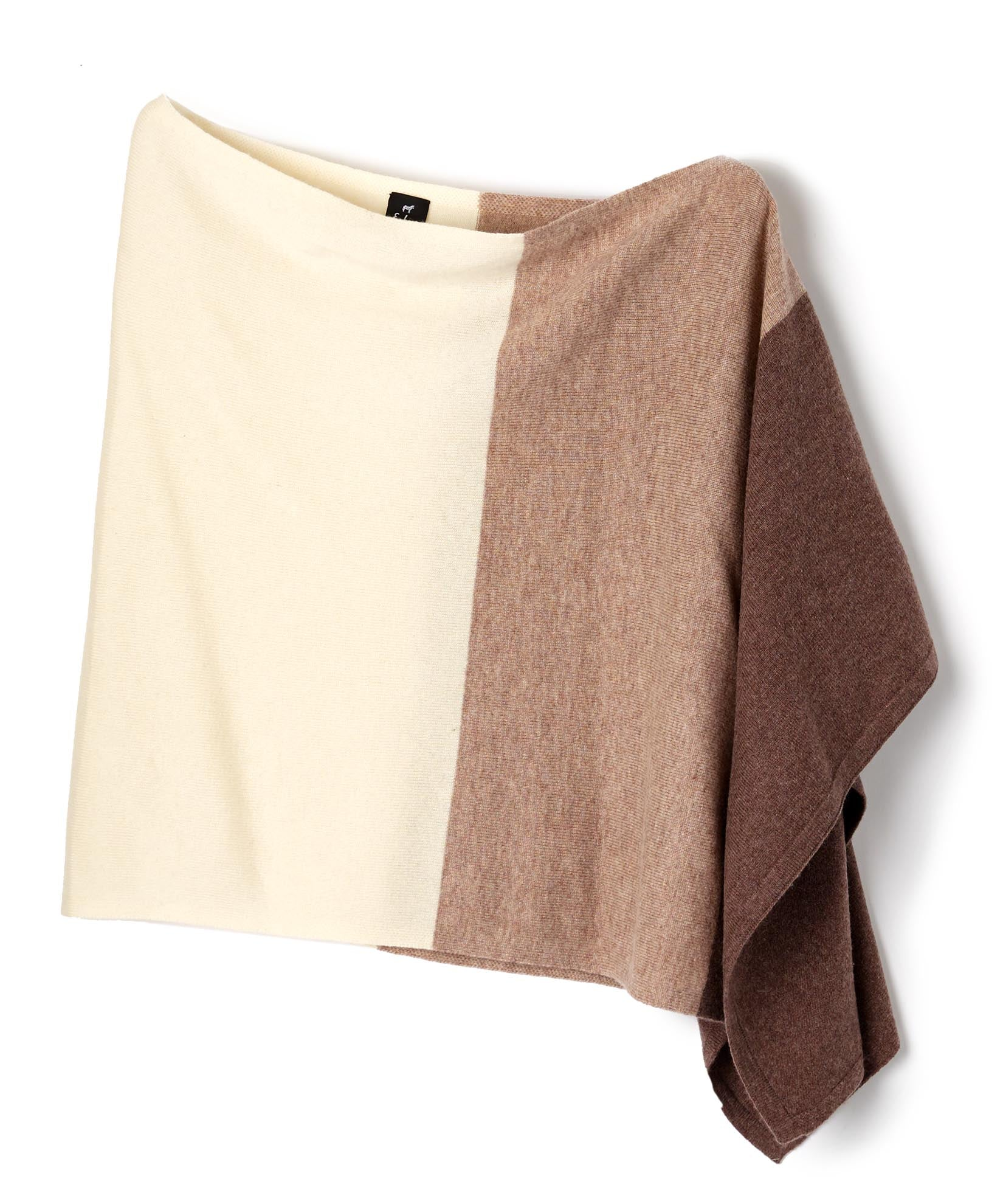 Oatmeal - Wool & Cashmere Colorblock Topper