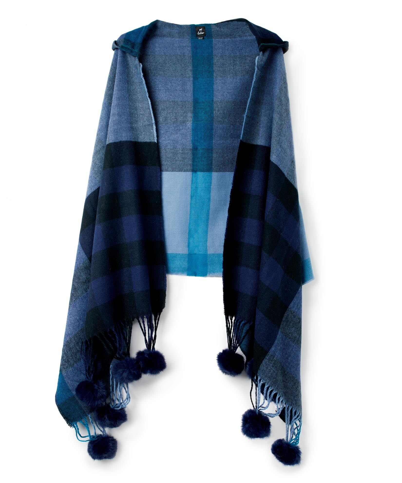 Maritime Navy - Hooded Plaid Wrap With Fur