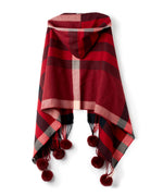 Port - Hooded Plaid Wrap With Fur