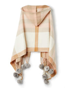 Blush - Hooded Plaid Wrap With Fur