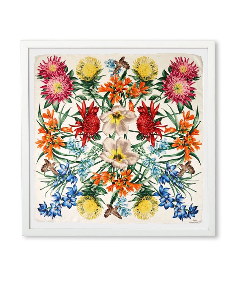 White Sand - Framed Blooms Of Oceania Scarf