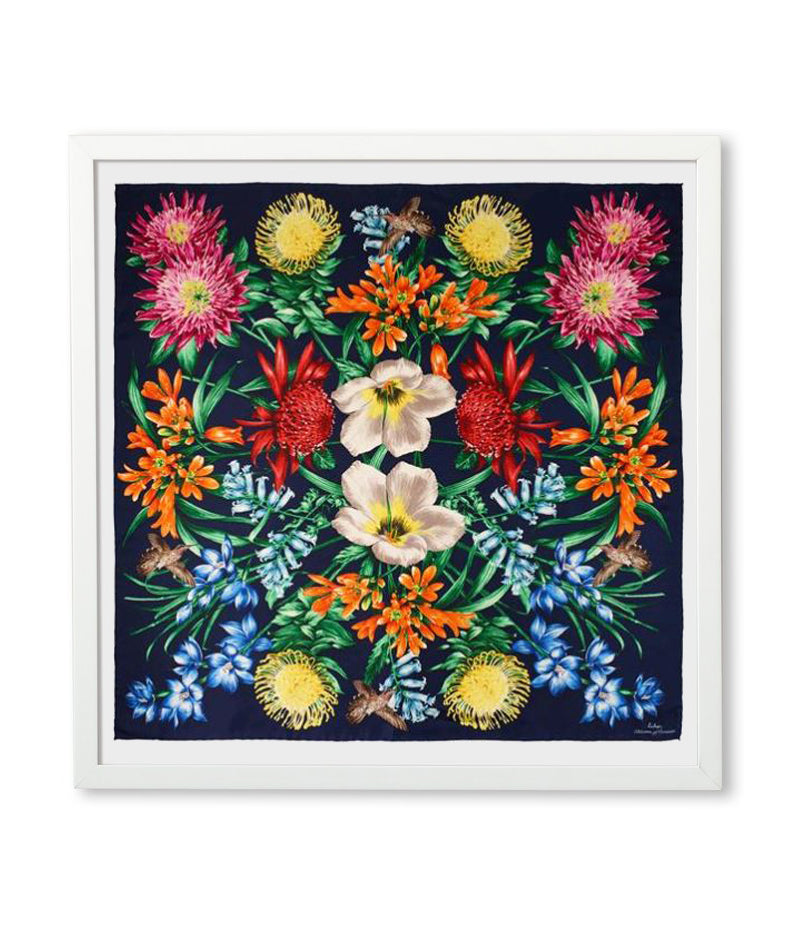 Navy - Framed Blooms Of Oceania Scarf