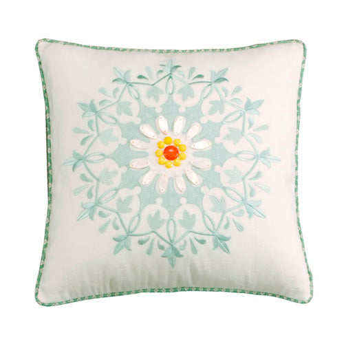 White - Jaipur Square Embr Pillow