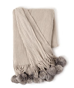 Silver - Solid Throw With Fur Poms