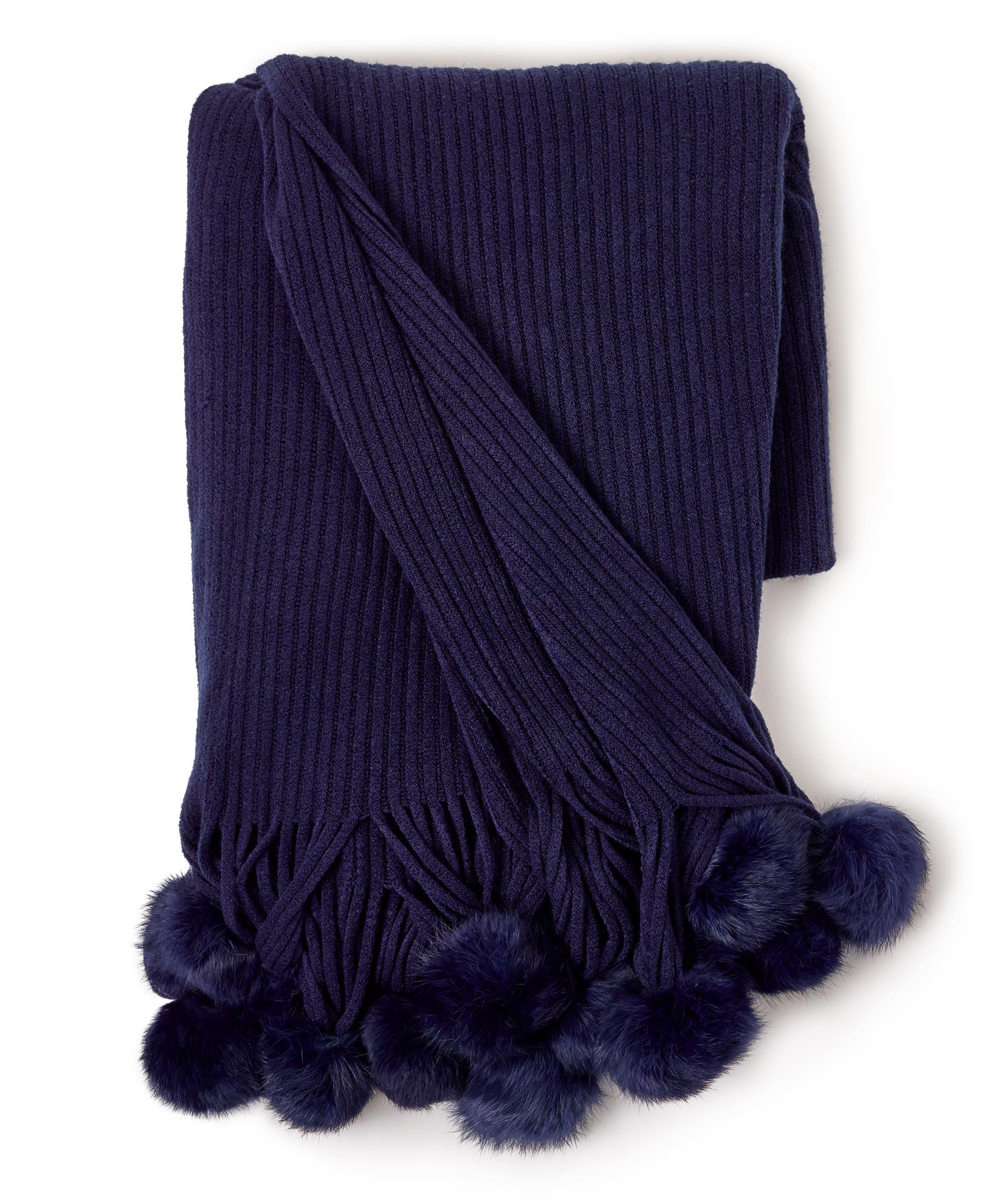 Maritime Navy - Solid Throw With Fur Poms