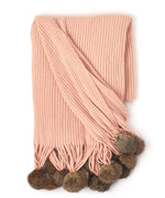 Blush - Solid Throw With Fur Poms