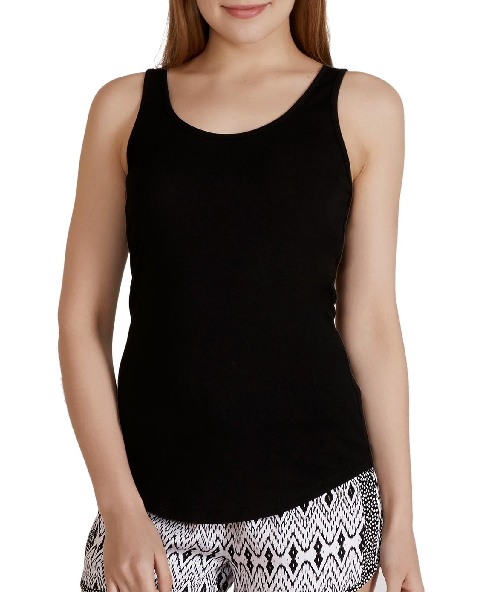 Black - Solid Lace Back Tank