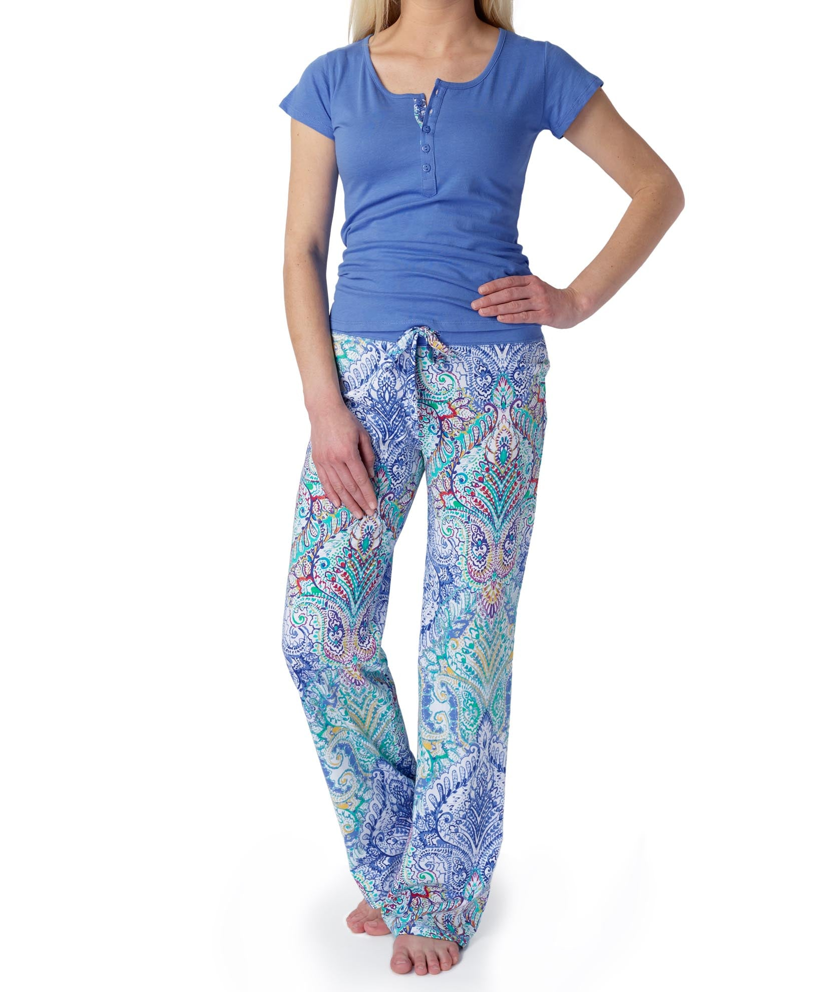 Blue - Paintdp Cotton Modal Ss Pj Set