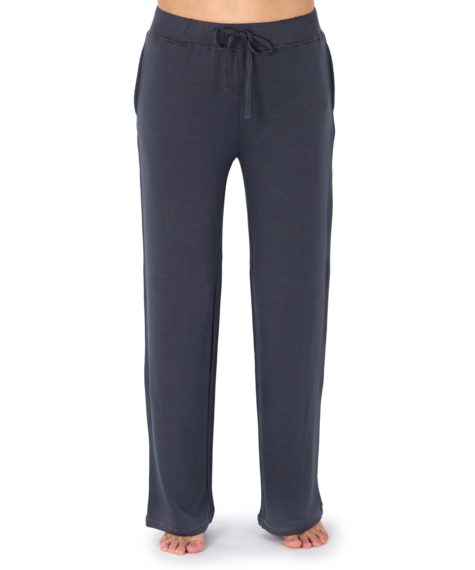 Grey - Solid Drawstring Pant