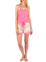 Pink - Butterfly Tank Boho Short Set