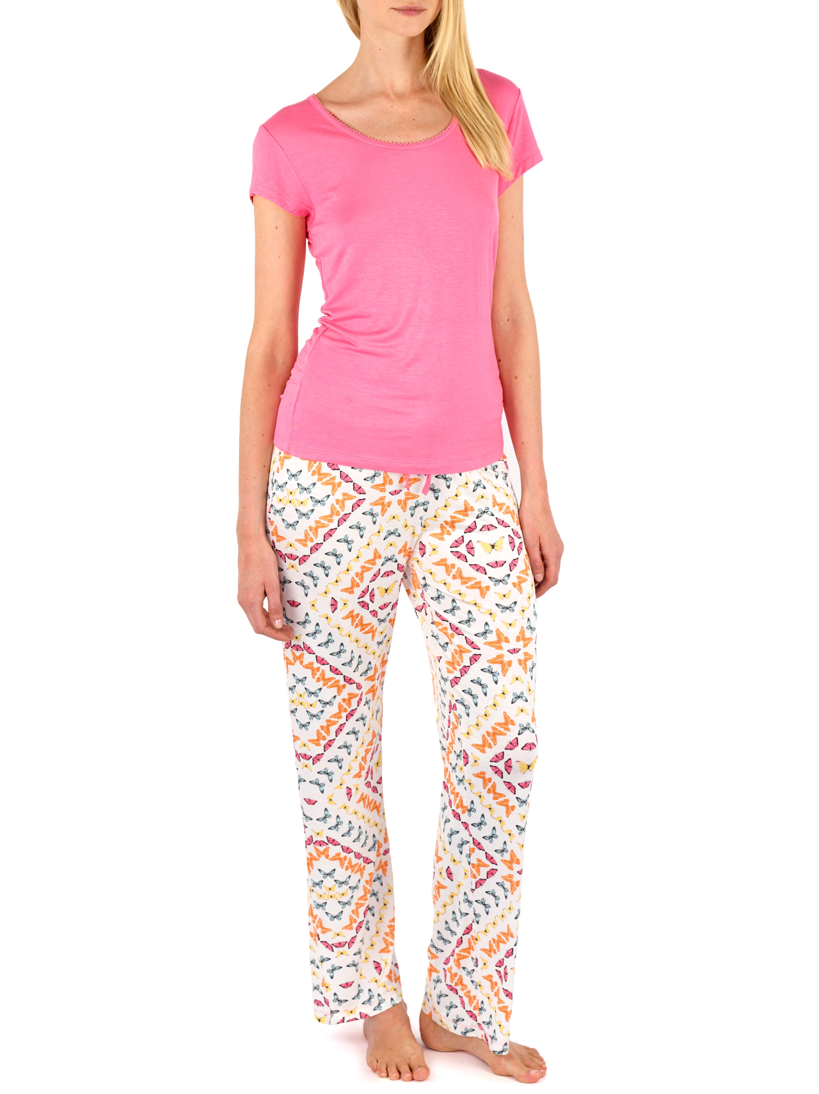 Pink - Butterfly Tee Crop Pant Set