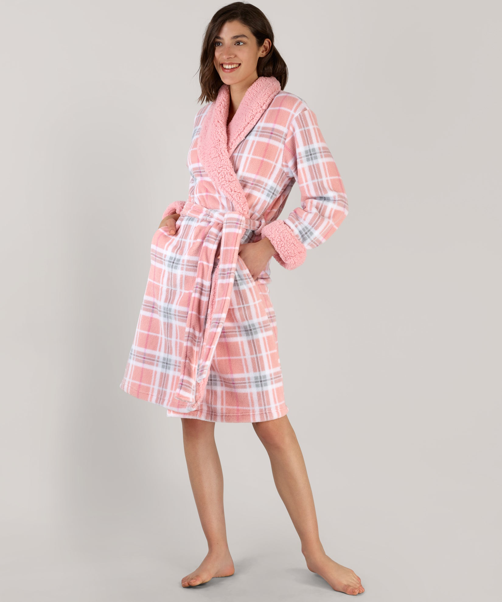 Pink Plaid Plush Robe - Pink Plaid Plush Robe