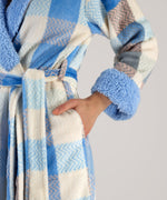 Herringbone Plaid Plush Robe - Herringbone Plaid Plush Robe
