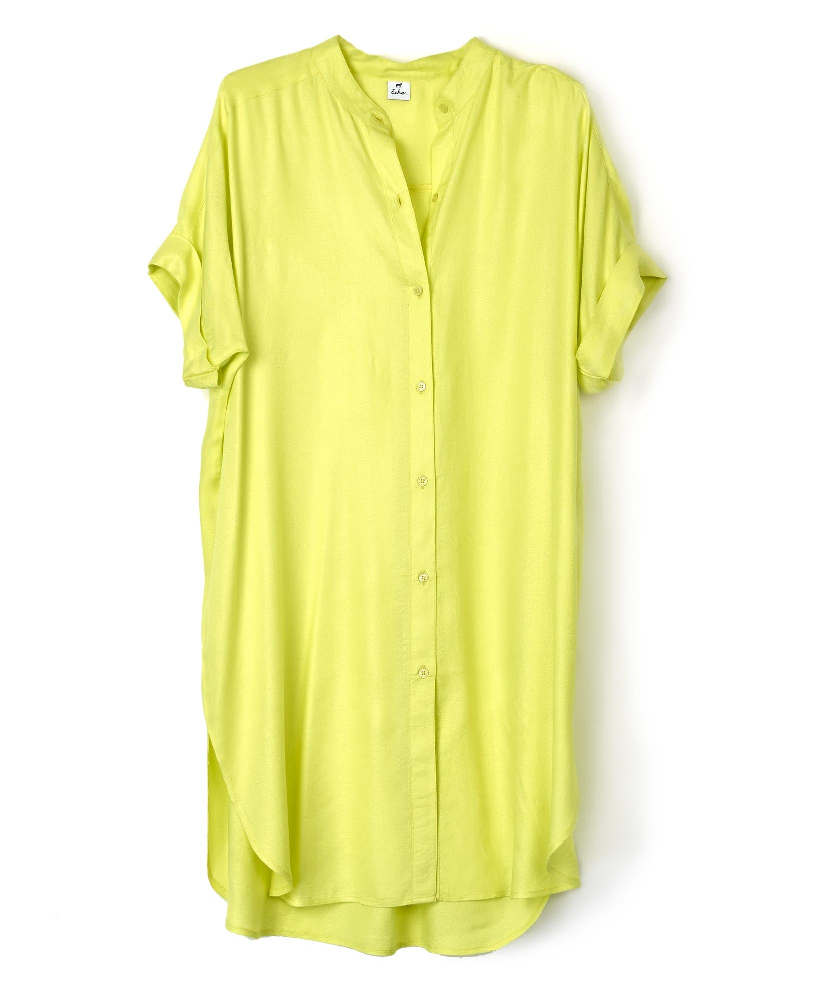 Sunny Lime - Solid Shirt Dress