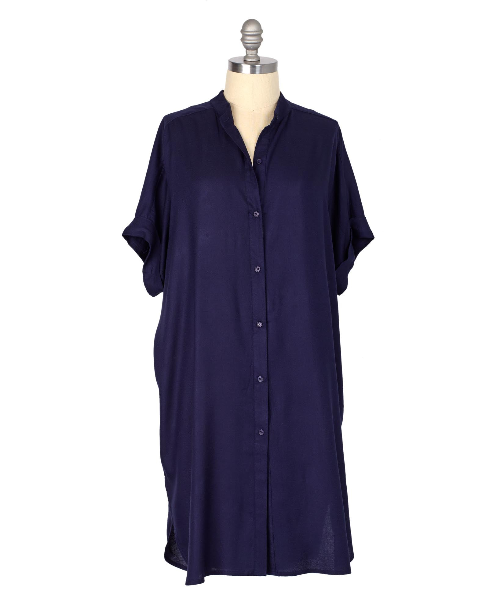 Navy - Solid Shirt Dress