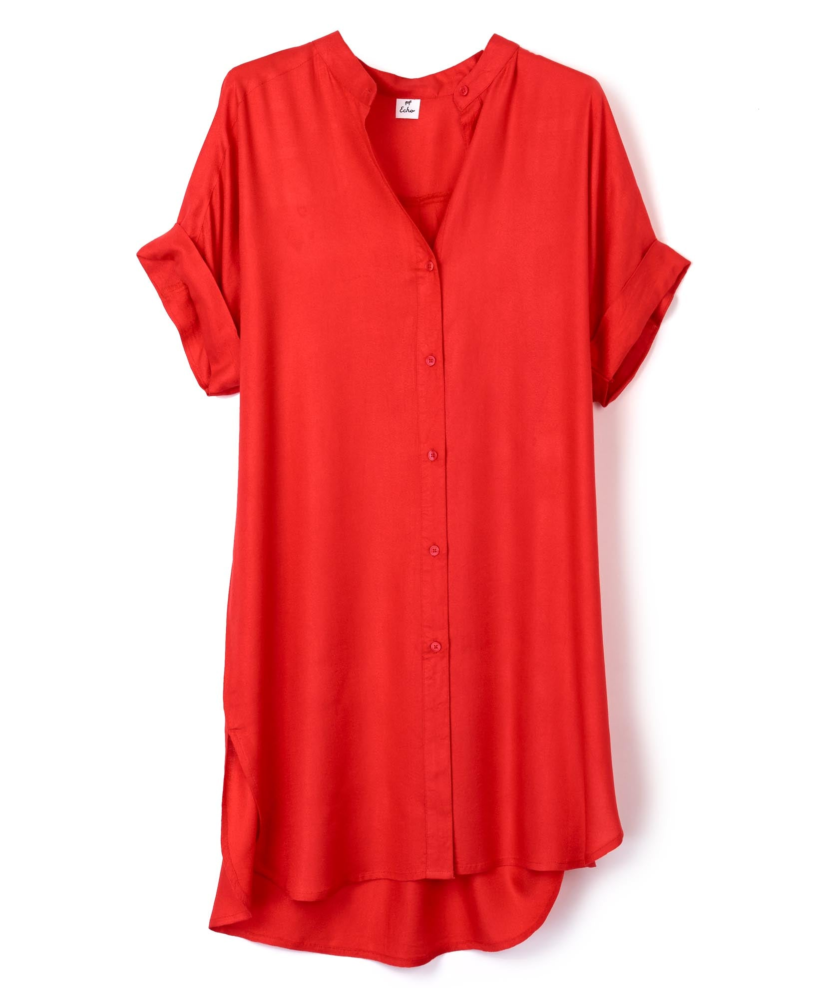 Coral - Solid Shirt Dress